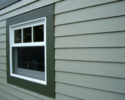 Cement fiber, real wood lap and vinyl siding.