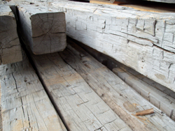 Rustic recycled big timbers before milling.